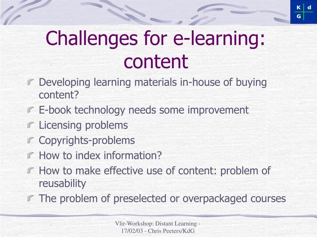 Challenges for e-learning: content