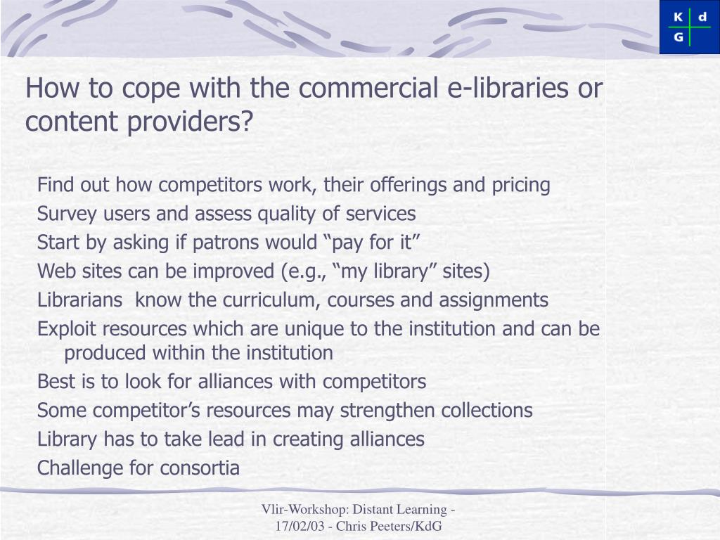 How to cope with the commercial e-libraries or content providers?