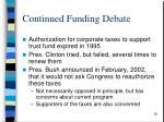 continued funding debate