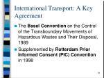 international transport a key agreement