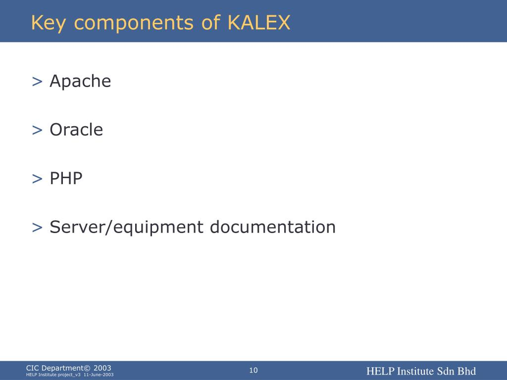 Key components of KALEX