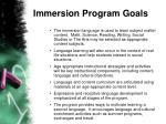 immersion program goals
