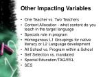 other impacting variables