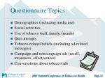 questionnaire topics