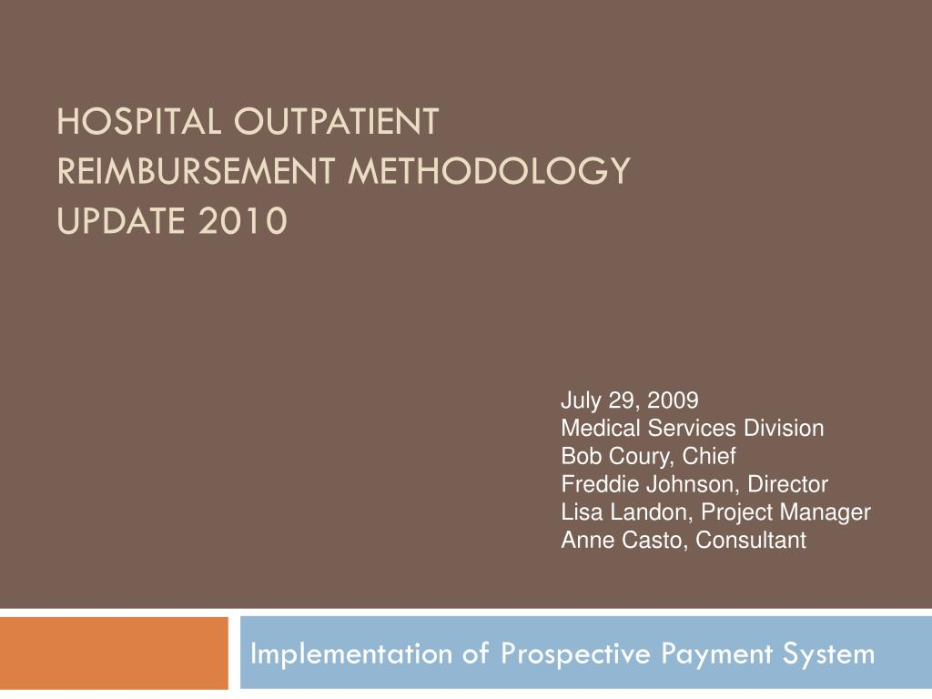 hospital outpatient reimbursement methodology update 2010 l.