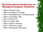 the international conference on biological inorganic chemistry