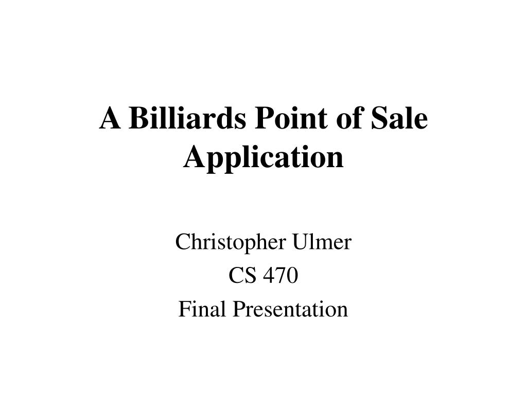 a billiards point of sale application l.