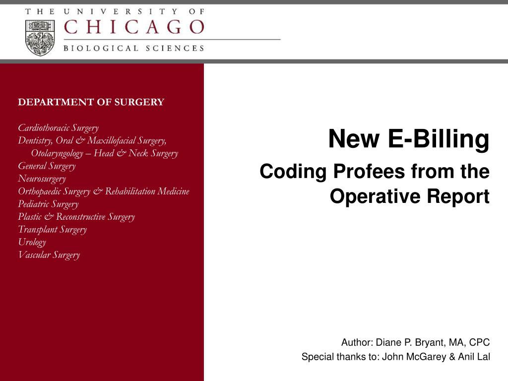 new e billing coding profees from the operative report l.