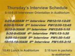 thursday s interview schedule