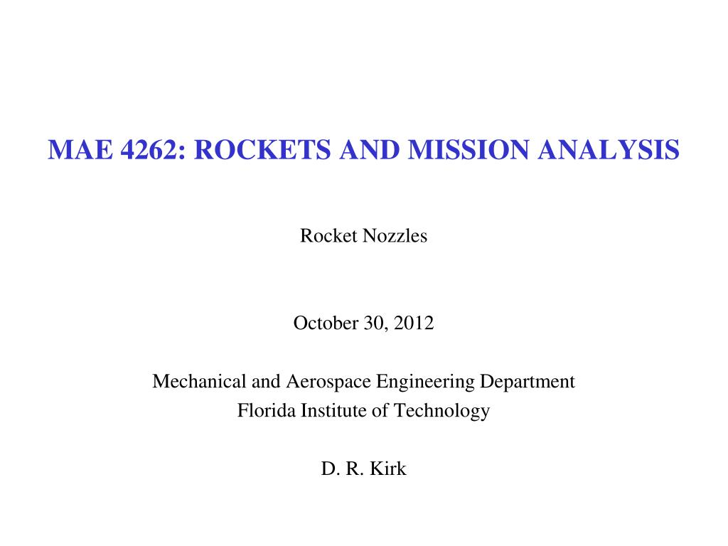 mae 4262 rockets and mission analysis l.