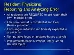 resident physicians reporting and analyzing error