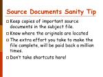 source documents sanity tip