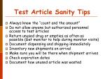 test article sanity tips