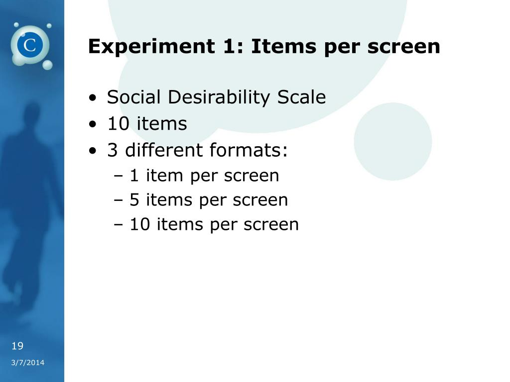 Experiment 1: Items per screen