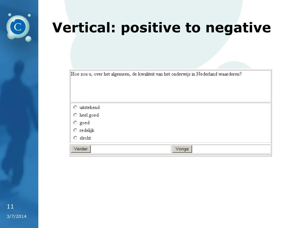 Vertical: positive to negative