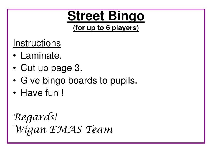 street bingo for up to 6 players n.