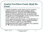 capital facilities funds shall be used
