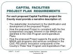 capital facilities project plan requirements