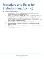 procedure and rules for brainstorming cont d