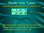 steady state values