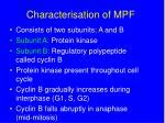 characterisation of mpf