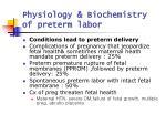 physiology biochemistry of preterm labor