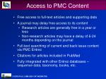 access to pmc content