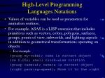 high level programming languages notations