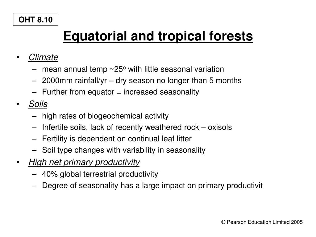 Equatorial and tropical forests