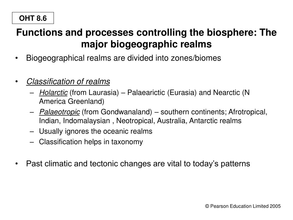 Functions and processes controlling the biosphere: The major biogeographic realms