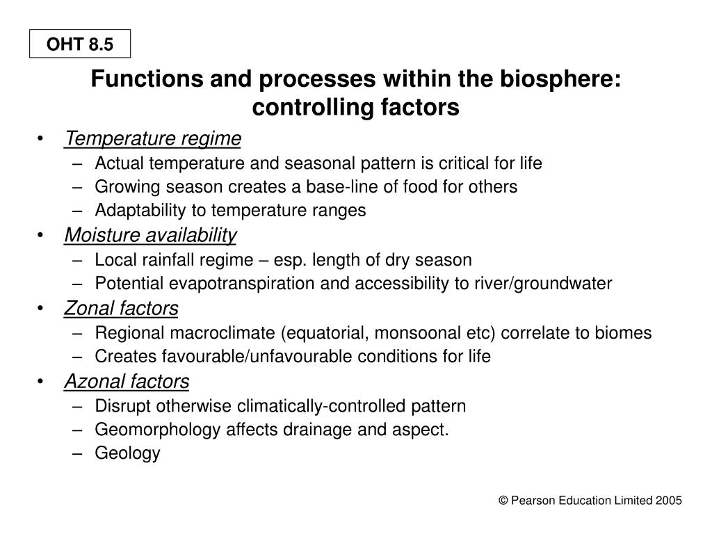 Functions and processes within the biosphere: controlling factors