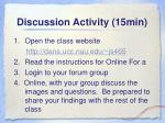 discussion activity 15min