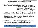clearances progress report