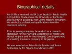 biographical details