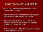 class social class health
