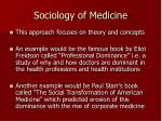 sociology of medicine