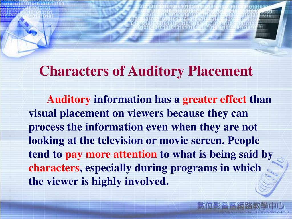 Characters of Auditory Placement