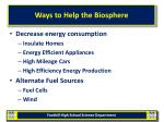 ways to help the biosphere