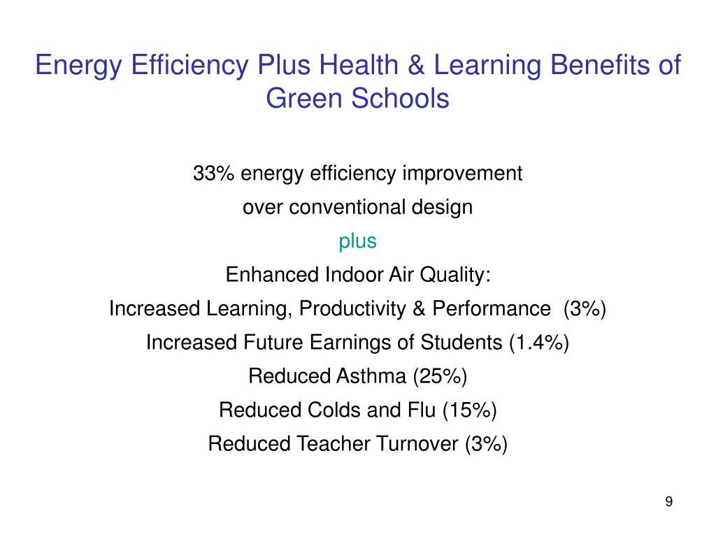 Energy Efficiency Plus Health & Learning Benefits of Green Schools