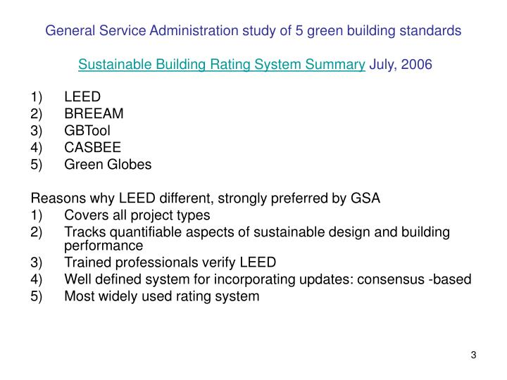 General Service Administration study of 5 green building standards