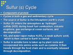 sulfur s cycle