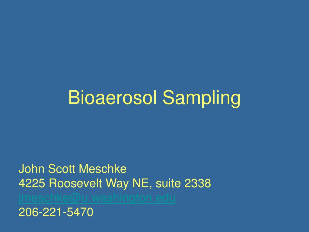 bioaerosol sampling l.