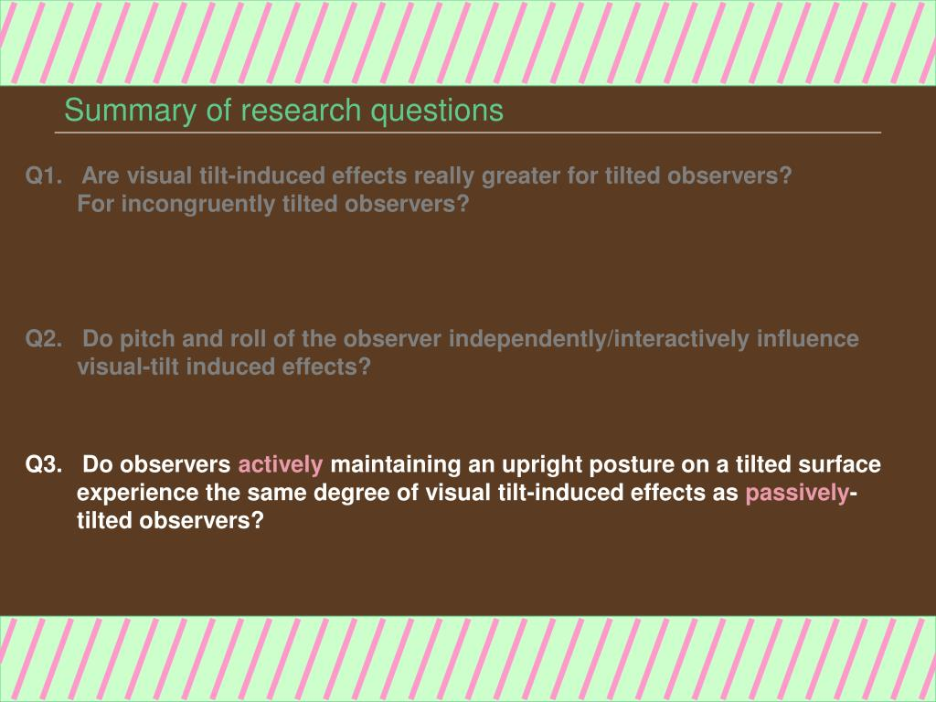 Summary of research questions
