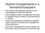 nutrient compartments in a terrestrial ecosystem