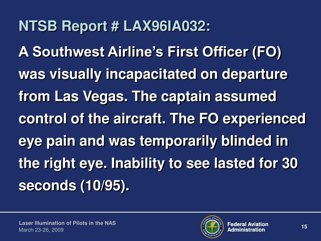 NTSB Report # LAX96IA032: