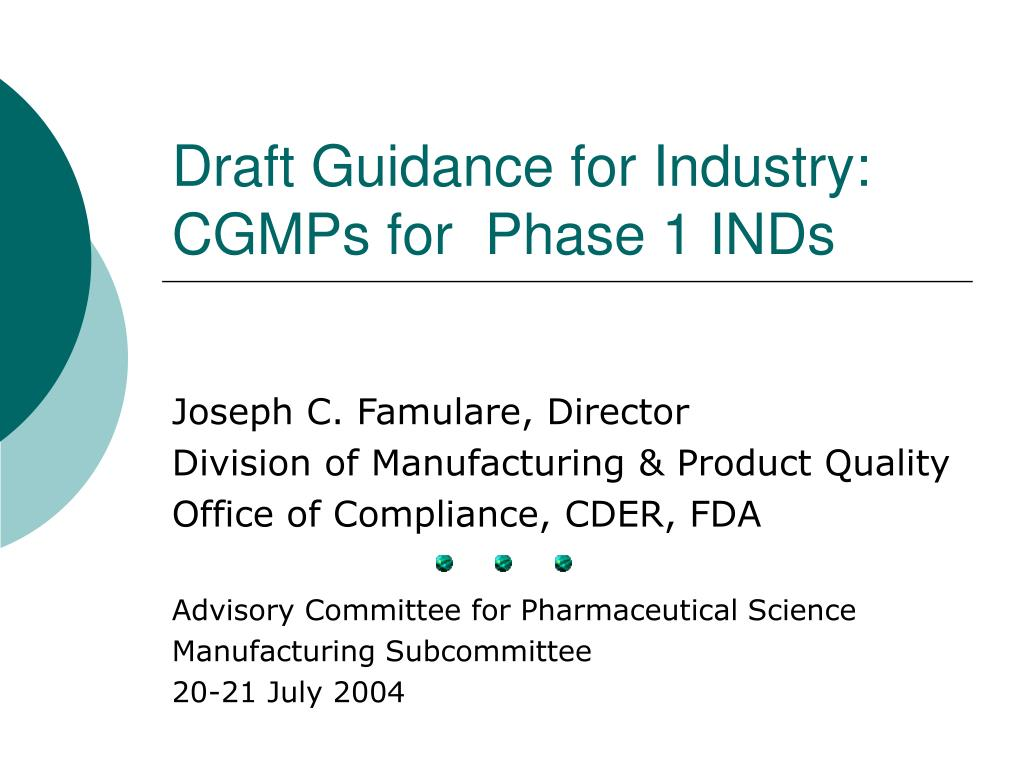 draft guidance for industry cgmps for phase 1 inds l.