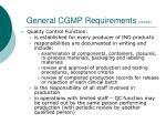 general cgmp requirements cont d