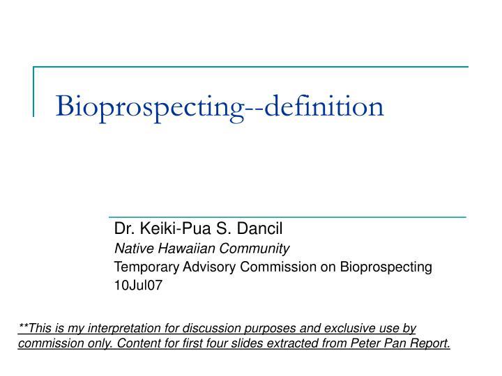 Bioprospecting definition