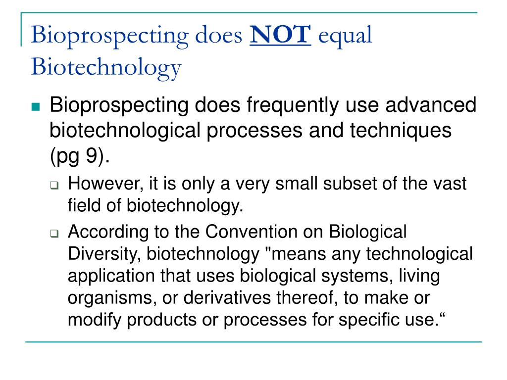 Bioprospecting does