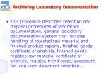archiving laboratory documentation